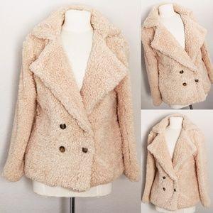 Beige Fluffy Cozy Soft Button Pocket Teddy Jacket